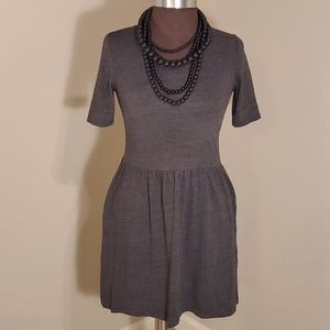 GAP Elbow Sleeve Gathered Waist Fit/Flare Dress